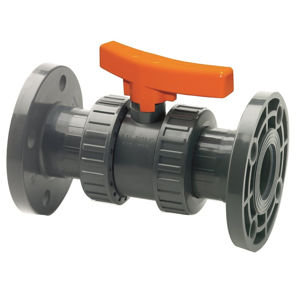 Double Flanged Plastic PVC-U Ball Valves Lever Operated PN16